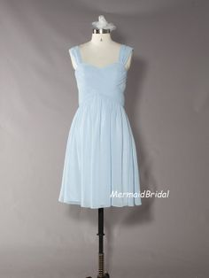 Light sky blue knee length Bridesmaid Dress, Chiffon bridesmaid gown with sweetheart and Dual straps