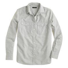 Polka-dot flannel shirt : shirts & tops | J.Crew