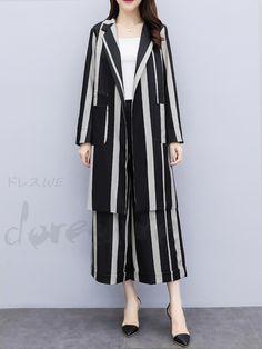 da54197d4ed51 ファッション通販 #Fashion Doresuweアウターストライプ柄OL通勤レディースファッションワイドレッグパンツ
