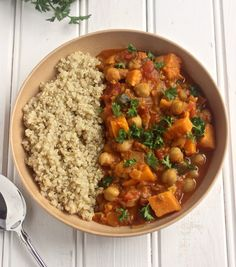 Thick and hearty vegetarian sweet potato and chickpea stew made with ...