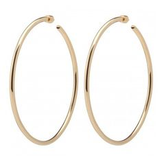 """3"""" Classic Hollow Hoops (3 915 SEK) ❤ liked on Polyvore featuring jewelry, earrings, hoop earrings, polish jewelry and earring jewelry"""