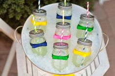 mason jars perfect for a mid-summer party. . .or a relaxing day in the back yard