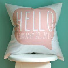 custom birth date pillow cover hello blush di iviebaby su Etsy, $38.00
