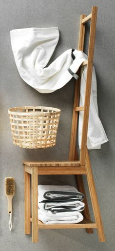 The versatile RAGRUND chair is made of bamboo and helps to save room because you get both a chair and a towel rack in the same space.