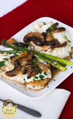Chicken Madeira with mushrooms, garlic, artichoke hearts, and creamy wine sauce, topped with fresh mozzarella cheese