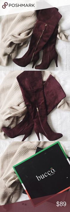"ʙᴜᴄᴄᴏ ᴋʟᴏᴡᴇ ʙᴏᴏᴛs Suede knee-high pointed toe boots in a gorgeous burgundy color. Boots are true to size & feature a partial side zipper (gold hardware) with a stiletto heel. Lastly, lightly padded footbed and topstitch detail. I have only worn these ONCE. They are looking for a fashionista to give them a new home. They come with their box & replacement studs for the heels.  ‣ᴍᴀɴᴍᴀᴅᴇ ᴜᴘᴘᴇʀ ᴀɴᴅ sᴏʟᴇ ‣sʜᴀғᴛ ʜᴇɪɢʜᴛ: ᴀᴘᴘʀᴏx. 17"" ‣ᴏᴘᴇɴɪɴɢ ᴄɪʀᴄᴜᴍғᴇʀᴇɴᴄᴇ: ᴀᴘᴘʀᴏx. 14"" ‣ʜᴇᴇʟ ʜᴇɪɢʜᴛ: ᴀᴘᴘʀᴏx. 4"" bucco…"