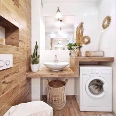 # Bathroom vinyl decor # Bathroom decor ideas small # Bathroom decor and tiles will be … – rustic home interior Laundry Room Design, Laundry In Bathroom, Small Bathroom, Bathroom Shelves, Bathroom Ideas, Design Bathroom, Wooden Bathroom, Bathroom Vinyl, Laundry Rooms