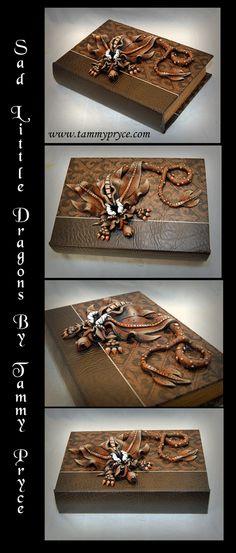 Ooak Polymer Clay Brown Sad Little Dragon on Medium by TammyPryce $55 #dragons #saddragons #polymerclay #fantasydecor