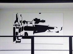 black white painting artists interior