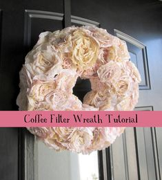 Coffee Filters: DIY Coffee Filter Wreath Tutorial from Haleighanna's Hands Coffee Filter Roses, Coffee Filter Wreath, Coffee Filter Crafts, Coffee Crafts, Coffee Filters, Wreath Crafts, Diy Wreath, Fabric Wreath, Book Wreath