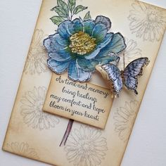 Sympathy card by Jacqui, I coloured this card the same using the water pen and ink from the lids. I used the hostess stamp set 'Bloom with hope'. Butterfly Cards, Flower Cards, Hand Stamped Cards, Bluebirds, Get Well Cards, Card Sketches, Sympathy Cards, Card Tags, Paper Cards