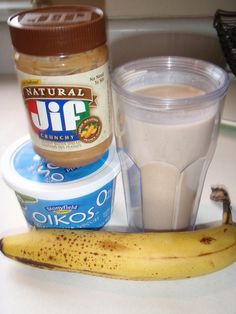 Peanut Butter Smoothie....  Super filling, yummy, and healthy!
