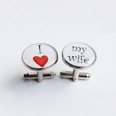 manžety kulaté I love my wife #bestman #wedding #cuffs #cufflinks #handmade #crystal #resin #love #lovemywife #wife #svatební #manžety #knoflíčky #designempathy Wedding Cufflinks, Accessories, Ornament