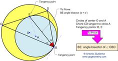 Geometry Problem 53. Tangent Circles, Tangent Chord, Angle Bisector. Level: High School, College, Math Education.
