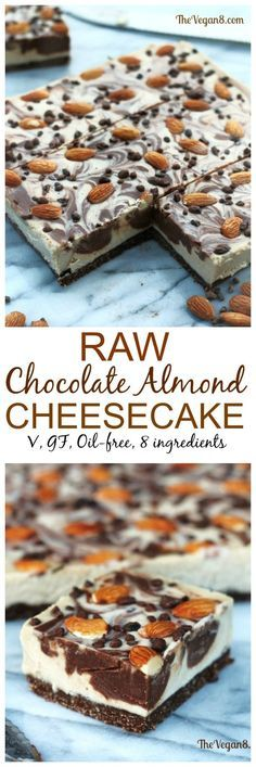 Raw Vegan Chocolate Almond Cheesecake Bars Oh. This dessert. I have 2 exciting things to share with you today! First, I was absolutely honored and thrilled when I was contacted by Rawguru and Raw Food Recipes to create so… - Delicious Vegan Recipes Raw Vegan Desserts, Raw Vegan Recipes, Vegan Treats, Vegan Foods, Delicious Desserts, Paleo, Yummy Food, Vegan Vegetarian, Vegan Raw