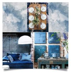 """""""Mood Indigo"""" by pippyshouse ❤ liked on Polyvore featuring interior, interiors, interior design, home, home decor, interior decorating, Collage, indigo, templates and artset"""