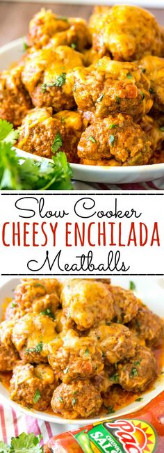 Cheesy, spicy and addicting these Cheesy Enchilada Crockpot Meatballs are a flav. Cheesy, spicy and addicting these Cheesy Enchilada Crockpot Meatballs are a flavorful, gooey and de Cheesy Enchiladas, Slow Cooker Recipes, Beef Recipes, Cooking Recipes, Healthy Recipes, Hamburger Recipes, Ark Recipes, Turkey Recipes, Recipes