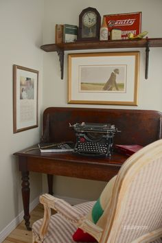 Office alcove using a drop leaf dining table converted into a desk with matching backboard &  shelf...CynthiaWeber.com