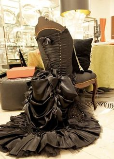 Dressing a chair. (Chair by Douglas Little for Barneys). I love this!!!!!! Perfect for my master bathroom