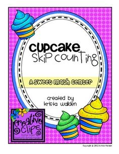 This {FREE} sweet-themed math center helps kiddos practice skip counting by 2, 3, 5, and 10.  Bright. colorful resources and black and white record...