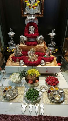 Discover thousands of images about Gowri pooja Diwali Decorations, Festival Decorations, Flower Decorations, Silver Pooja Items, Mandir Design, Pooja Mandir, Ganapati Decoration, Pooja Room Door Design, Silver Lamp
