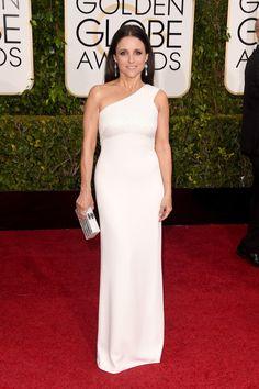 Julia Louis Dreyfus wore a one shoulder white gown