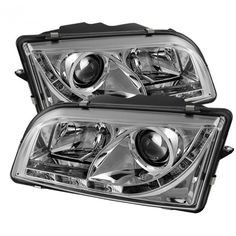 Spyder Auto 444-VOS4097-DRL-C | 2001 Volvo S40 Chrome/Clear DRL LED Projector Headlights for Sedan