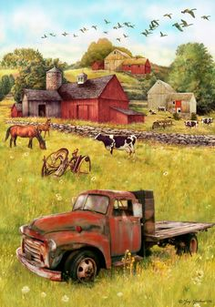 Garden & House Flags: 3522 in Stock Farm Paintings, Barn Pictures, Country Barns, Country Life, Barn Art, Farm Trucks, Old Farm Houses, Country Scenes, House Flags