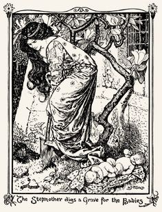 "H.J. Ford, The violet fairy book ""Stepmother digs a grave for the babies"""