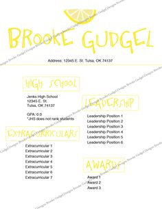 lemon resume contact brookegudgelgmailcom resume template - Sorority Resume Template