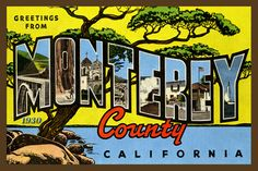 Monterey California Large Letter 2 - 1930 Postcard. Quilt Block printed on cotton. Ready to sew. Single 4x6 block $4.95.