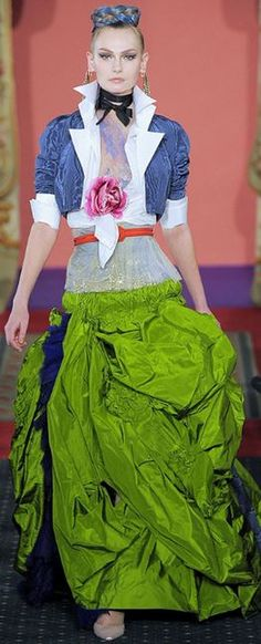 Christian Lacroix- Look at that Green! And more gorgeous draping!
