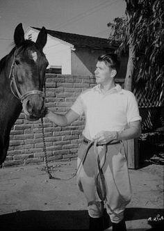 Ronald Reagan at his ranch in Northridge California C. 1948