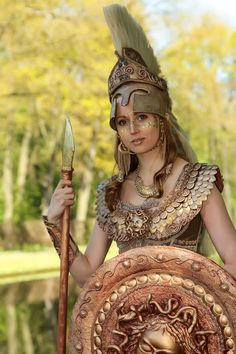 Pallas Athena costume by Susan Broers. Worn at Elf Fantasy Fair Haarzuilens (Netherlands).  Picture taken by Frans Petrij.