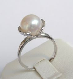 White Gold Pearl Ring Engagement Ring promise ring by havalazar, $440.00