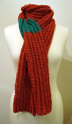 Handmade knitted chunky unisex red scarf with thick by ManaKori