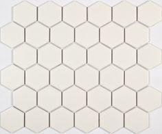 Шестигранная мозаика из керамогранита, белая, чип 51х59 мм