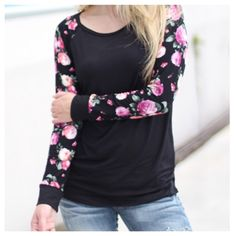 Raglan floral sleeve top So pretty raglan floral sleeve tunic top PLEASE comment on the size you want (when your ready to purchase) and allow me to make you a personalized listing BUNDLE AND SAVE 10% Tops Tunics