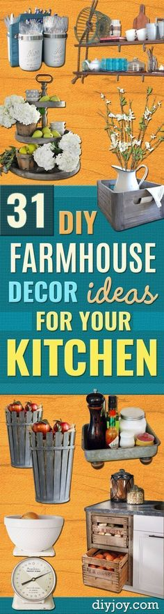 DIY Farmhouse Style Decor Ideas for the Kitchen - Rustic Farm House Ideas for Furniture, Paint Colors, Farm House Decoration for Home Decor in The Kitchen - Wall Art, Rugs, Countertops, Lights and Kitchen Accessories http://diyjoy.com/diy-farmhouse-kitchen #homedecorideas #homedecoraccessories