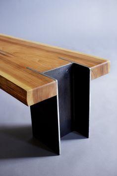 10 X 42 Bench Detail by quartertwenty, Repurposed wood beam, Steel 'H' beam.