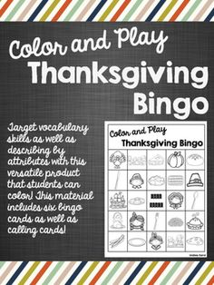 Thanksgiving Print   Go Articulation Worksheets Loaded with     Color and Play Thanksgiving Bingo