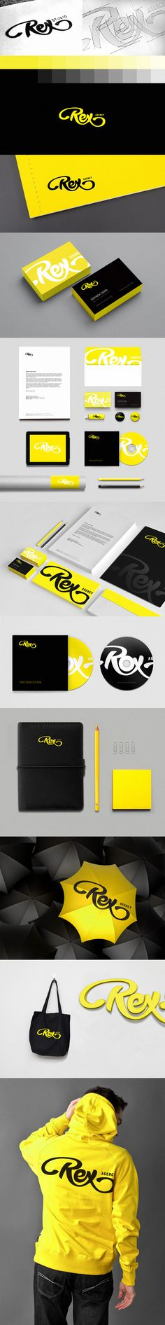 Black and yellow/gold always look great together. The handwritten—rex—nice logo. Using that over and over again highlights the brand.