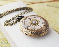 Vintage+compass+locket+necklace++steampunk+necklace+by+Rozibuz,+$30.00