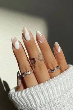 Classy Almond Nails, Short Almond Nails, Almond Shape Nails, Almond Acrylic Nails, Cute Acrylic Nails, Fall Almond Nails, White Almond Nails, Black White Nails, Short Nails