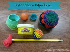 List of simple fidget tools you can find at the Dollar Store! Great for students with special needs, ADHD, etc.