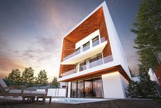 The building facade is made out of timber, and clad with artificial cast marble. The building form showing he courage in expanding the views to panoramic shape and creating masterpiece itself. Building Facade, Architects, Marble, It Cast, Villa, Around The Worlds, Shape, Mansions, House Styles