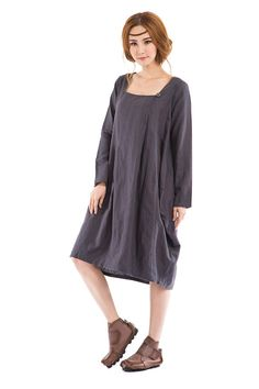 KL035D Rose/Women Clothing Plus Size Petite Maternity Day Party Prom Casual Sundress Handmade Summer Maxi Hot Chic Linen Blouse Grey Dress