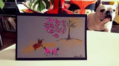 French bulldog winter/fall card, cute, made with unigue combination of fingerprint art and pencil by BoubouleArt on Etsy