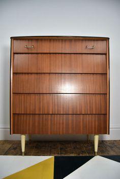 Lovely Vintage/Retro/Midcentury 1950s Avalon Chest Drawers/Tallboy