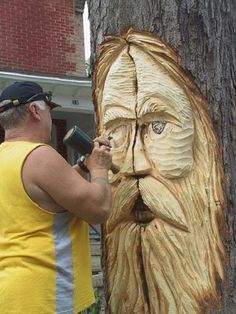 Tree Spirit  Tree Wood Carvings // have a tree spirit in your house or yard to protect your home.